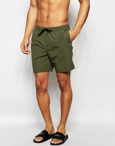 ASOS Swim Shorts In Blue/Red With Acid Wash Mid Length   men's ...