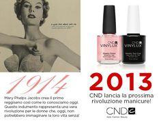 """Campagna """"Lancio CND Vinylux, the weekly polish"""": 1914, Mary Phelps Jacobs inventa il primo reggiseno così come lo conosciamo noi. 2013, CND lancia la prossima rivoluzione manicure!"""