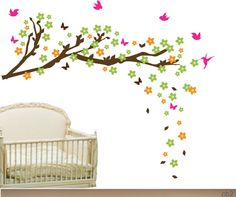 Cherry Tree blossom  Nursery Wall decal Set 41 x 50  inches - Kid's Nursery Room Wall Sticker-CHB022912