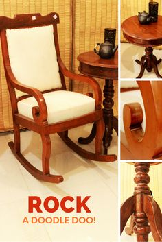 And here's one super gorgeous high back #rocking #chair for your grandpa to curl up in those scrolled arms to spend his time home relaxing when you are not around.