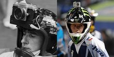 Helmet camera then and now - action camera, sport camera, gopro