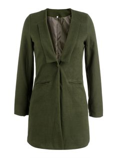 Women Army Green Lapel Single Button Wool Coats