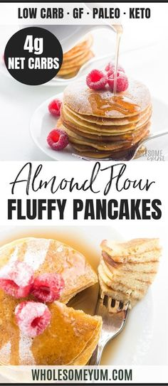 Easy Keto Almond Flour Pancakes Recipe - These fluffy almond flour pancakes are so simple to make! Just a few common ingredients needed. You're going to love this easy keto almond flour pancake recipe. Breakfast And Brunch, Low Carb Breakfast, Breakfast Recipes, Breakfast Pancakes, Breakfast Bites, Breakfast Cereal, Breakfast Cookies, Sausage Breakfast, Breakfast Casserole