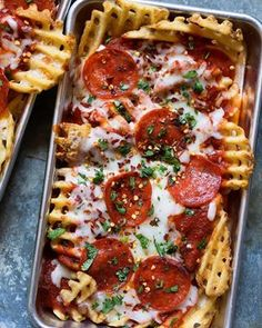 Grab a beer and sit down  watch Monday Night Football with these Waffled Pizza Fries On the blog now pizza mondaynightfootball