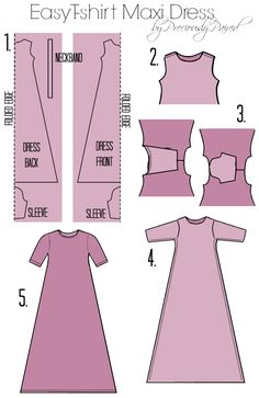 Use this Easy Tshirt Maxi Dress pattern as a guide for making a custom dress for your bjd.