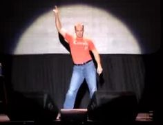 stand-up comedian Judson Laipply displays his incredible energy and flawless execution of his 'evolution of dance' comedy skit.