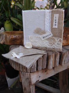 Burlap  Lace Wedding Guest Book $29