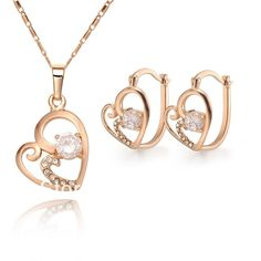 """""""FREE SHIPPING"""" - Fashion Gold Plated White Crystal Inlayered Heart Shaped Jewelry sets for Women for just $16.48 (a 48% savings!) at TripleClicks."""