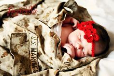 Newborn marine corps uniform crochet headband