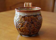 Hand Thrown Tree Themed Brown Ceramic Mug - 12 oz Ceramic Cups, Ceramic Pottery, Tree Carving, Pottery Wheel, Glass Marbles, Coffee Cups, Tea Pots, Ceramics, Handmade