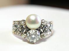 Beautifully natural pearl & old mine cut diamond ring, Mid century (C)Regard Co. Diamond Cuts, 19th Century, Pearl Earrings, Pearls, Natural, Beauty, Jewelry, Engagement, Beleza