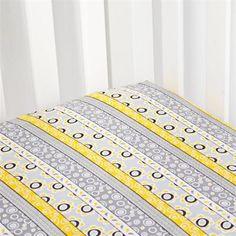 Grey and Yellow Striped Crib Sheet
