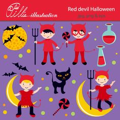 This Red devil Halloween clipart set comes with 9 beautiful Halloween cliparts!