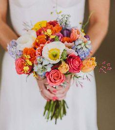 Colorful poppy bouquet