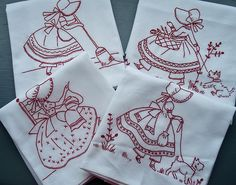 Set of 4 Redwork Tea Towels Vintage Embroidery, Embroidery Applique, Cross Stitch Embroidery, Embroidery Patterns, Machine Embroidery, Stitch Patterns, Yarn Crafts, Sewing Crafts, Sue Sunbonnet