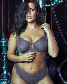 4b3392dff0672 Ashley Graham Fatal Attraction Charcoal Grey Bra and Thong Plus Size  Lingerie