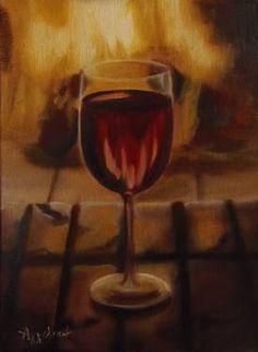 "Saatchi Art Artist ΑγγελικΗ  Aggeliki; Painting, ""A glass of wine "" #art Size: 24 H x 18 W x 1.5 cm"