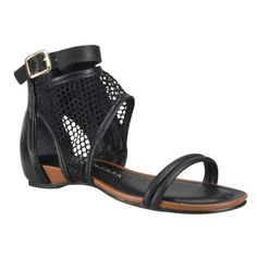 Sandália Tanara Rasteira N6484 - Preto (Mayo/Tela) - Calçados Online Sandálias, Sapatos e Botas Femininas | Katy.com.br