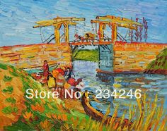 Find More Painting & Calligraphy Information about Handpainted Canvas Painting Reproductions Langlois Bridge at Arles with Women Washing Van Gogh's Landscape Painting Unframed,High Quality painting set,China painting monet Suppliers, Cheap bridge standard from The Arts Road on Aliexpress.com