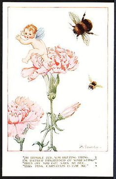 Signed Millicent Sowerby 1920 Flowers & Wings Series – Fairy, Bumble Bee