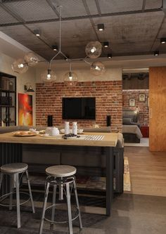 Apartment with loft / industrial appeal - wall, concrete ceiling. - Apartment with loft / industrial appeal – wall, concrete ceiling. Industrial Bedroom Furniture, Rustic Wood Furniture, Industrial Apartment, Industrial Interiors, Furniture Ideas, Apartment Lighting, Apartment Furniture, Furniture Outlet, Bedroom Lighting