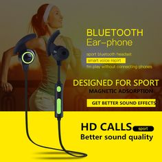Sports Wireless Bluetooth Earphone Anti-sweat Headset Earbuds Earphones with Mic In-Ear for iPhone SmartPhones computer outdoor //Price: $0.00//     #Gadget