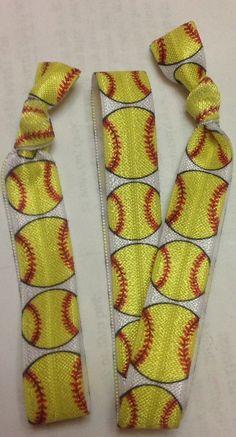 Softball Hair Tie Headband Set Elastic Hair Ties by MyThreeMsShop Softball Headbands, Softball Crafts, Elastic Hair Ties, Elastic Headbands, Softball Hairstyles, Sport Hair, Sport Craft, Tie Headband, Sweet Peas