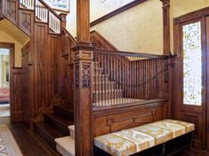 The Architecture Designs presents 22 beautiful traditional staircase design ideas to turn your traditional staircases into a unique one. Explore all ideas here. Victorian Stairs, Victorian Door, Victorian Homes, House Staircase, Staircase Design, Stairs And Hallway Ideas, Traditional Staircase, British Colonial Style, Interior Stairs