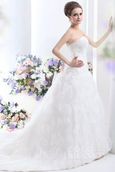Trendy Princess Sweetheart Court Train Ruffled Organza Lace Up-Corset Wedding Dress CWLT13006#Cocomelody#weddingdresses#bridalgown#