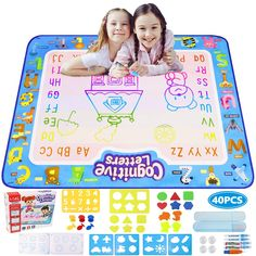 Ordenado Aqua Magic Doodle Mat Kid Toys, 40? x 32? Large Water Doodle Drawing Mat Mess Free Coloring Mats with 40 Accessories, Educational Toys for Kids Toddlers Boys Girls Age 2 3 4 5 6 7 * See this great product. (This is an affiliate link)