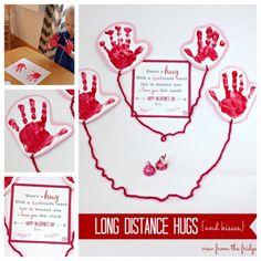 Over 20 of the Best Valentine ideas for Kids! Long Distant Hugs Handprint Card for Valentine's Day Toddler Valentine Crafts, Cute Valentine Ideas, Valentine Gifts For Kids, Diy Valentines Cards, Mothers Day Crafts For Kids, Kids Crafts, Dad Valentine, Preschool Crafts, Diy Valentine's Gifts For Kids