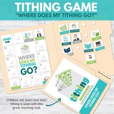 Tithing Lesson (Perfect for Primary or Family Home Evening) - Includes Primary games, teaching ideas, and more! Fhe Lessons, Primary Lessons, Lessons For Kids, Activity Day Girls, Activity Days, Teaching Tools, Teaching Ideas, Notes To Parents, Primary Activities
