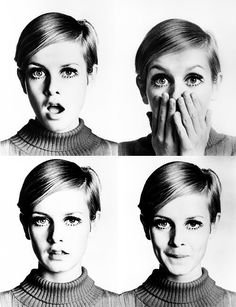 Twiggy! The original supermodel, rocking her pixie cut and adorable personality. #twiggy #pixiecut