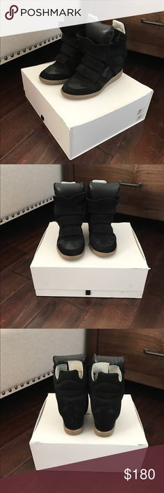 Isabel Marant Bekett Faded black calf velvet leather and lamb leather. Worn a couple of times. In excellent condition. Size 38 but I usually fit into a 36.5-37. Isabel Marant Shoes Sneakers