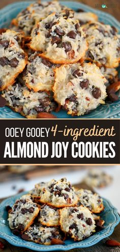 Easy Cookie Recipes, Cookie Desserts, Baking Recipes, Dessert Recipes, Easy Homemade Cookies, Bread Recipes, Easy Recipes, Vegan Recipes, Almond Joy Cookies