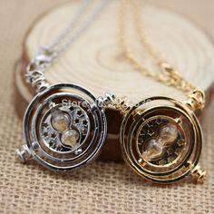2015 H P Giratiempos Hermione Granger Rotating Spins Oro Reloj de Arena Collar de Gargantilla Collares