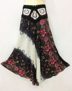 HIPPIE PEASANT BOHO LONG SKIRT IVORY CROCHET FLORAL RAYON SUMMER CASUAL S M L XL in Clothing, Shoes & Accessories, Women's Clothing, Skirts | eBay