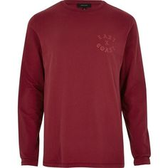 River Island Red 'East Coast' long sleeve T-shirt ($36) ❤ liked on Polyvore featuring men's fashion, men's clothing, men's shirts, men's t-shirts, red, mens patterned t shirts, mens cotton t shirts, j crew mens shirts, mens red shirt and mens tall t shirts