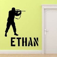 ARMY SOLDIER Wall Art Sticker Decal Boys Bedroom soilder kids gun
