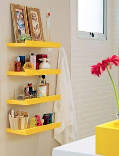 yellow storage bathrooms 25 Simple and Small Bathroom Storage Ideas.            --master bath but painted white or same paint as wall. Great way to use that space.