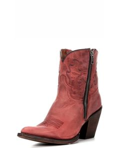 American Rebel Boot Company | Women's Stacie Short Boot - Distressed Red | Country Outfitter