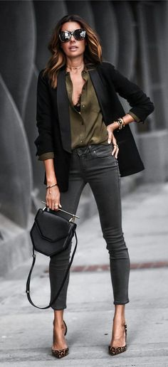 #fall #outfits women's black blazer, green top, black jeans, and brown heels #fallwomenclothing