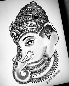Buddha Drawing, Doodle Art Drawing, Girl Drawing Sketches, Girly Drawings, Pencil Art Drawings, Cool Art Drawings, Lord Ganesha Paintings, Ganesha Art, Mandala Art Lesson