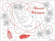 1 Martie Martisor * Desene de colorat cu Martisor * Spring coloring page Spring Coloring Pages, Free Coloring Pages, Color By Number Printable, Adult Coloring, Printables, Birds, Create, Search, Romania