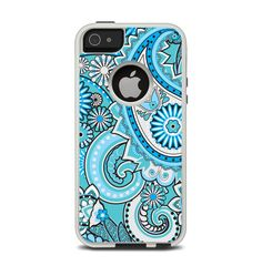 The Vibrant Blue and White Paisley Design Apple iPhone 5-5s Otterbox Commuter Case Skin Set