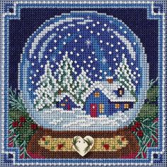 """Snow Globe Feet Buttons & Beads Counted Cross Stitch Kit - 5"""" x 5"""" 14 Count"""