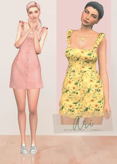 The Sims 4 Ari Dress by daisy-pixels Sims Four, Sims 4 Mm, Sims 4 Dresses, Sims4 Clothes, Sims 4 Cc Packs, Sims 4 Toddler, Sims Baby, Sims Games, The Sims 4 Download