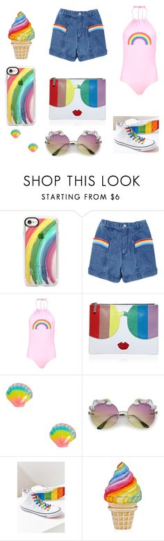 """""""pride day..! 🍦✌🎀"""" by ellie-rose-love ❤ liked on Polyvore featuring Casetify, Boohoo, Alice + Olivia, Converse and pride"""