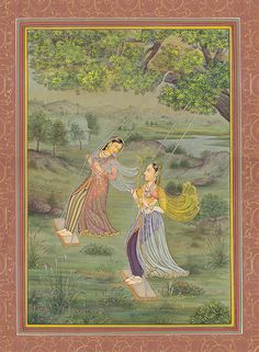 Swinging Ladies Awaiting the Arrival of Rain | Miniature Painting | India