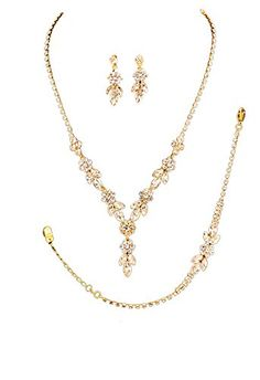 "Rosemarie Collections Women's 3 Piece Bridal Jewelry Set Floral Rhinestone Gold Tone. Elegant floral design evening necklace, bracelet and earrings set. Stunning marquise and round clear rhinestones in gold tone setting. Necklace length 16"" with 4"" extension, Decor 1.5"" length. Bracelet length 7"" with 2"" extension, 0.4"" height. Matching post drop earrings, 1.25"" length."